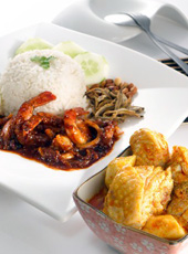 Nasi Lemak with Curry Chicken with Sambal Prawns